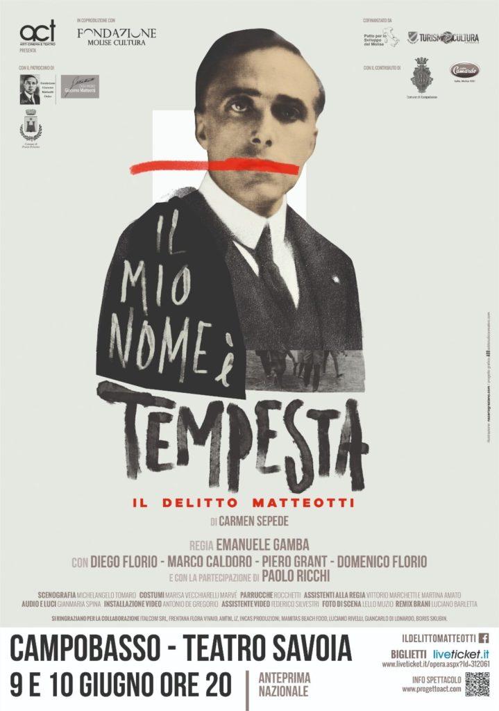 """Riapertura dei teatri: in scena a Campobasso """"Il mio nome è Tempesta. Il delitto Matteotti"""""""
